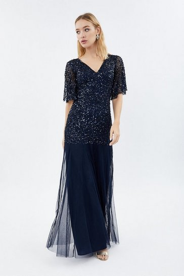 Navy Sequin Angel Sleeve Maxi Dress