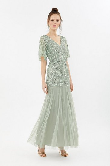 Sage Sequin Angel Sleeve Maxi Dress