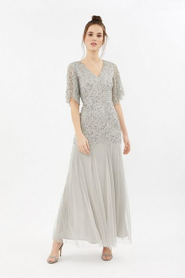 Silver Sequin Angel Sleeve Maxi Dress
