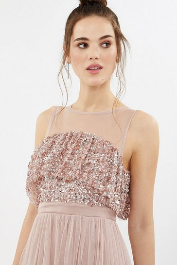 Blush Sequin Tulle Frill Bodice Maxi Dress