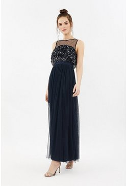 Navy Sequin Tulle Frill Bodice Maxi Dress