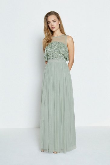 Sage Sequin Tulle Frill Bodice Maxi Dress