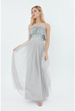 Silver Sequin Tulle Frill Bodice Maxi Dress