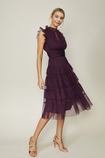 Berry Tulle Tiered Frill Sleeve Dress