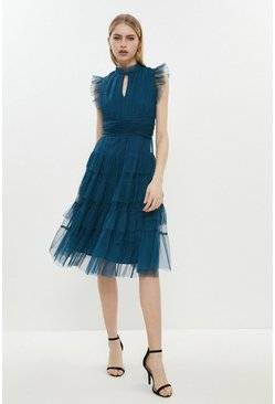 Blue Tulle Tiered Frill Sleeve Dress