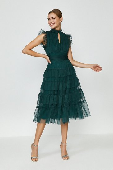 Forest Tulle Tiered Frill Sleeve Dress