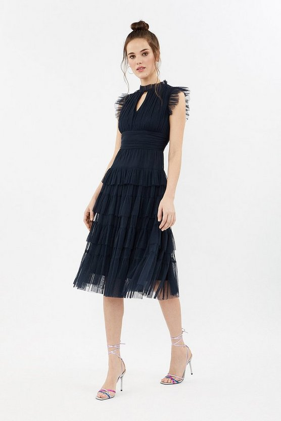 Navy Tulle Tiered Frill Sleeve Dress