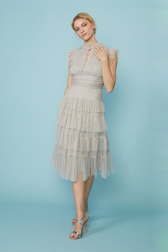Silver Tulle Tiered Frill Sleeve Dress