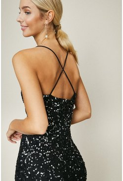 Black All Over Sequin Cross Over Back Maxi Dress
