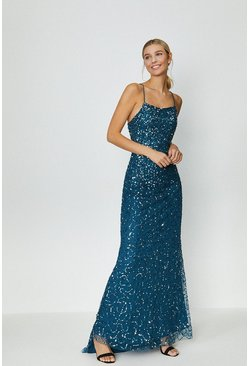 Blue All Over Sequin Cross Over Back Maxi Dress