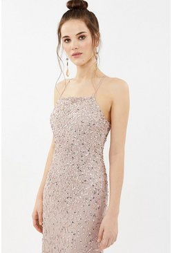 Blush All Over Sequin Cross Over Back Maxi Dress