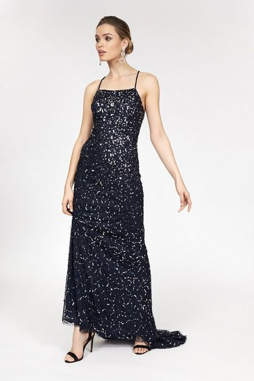 Navy All Over Sequin Cross Over Back Maxi Dress