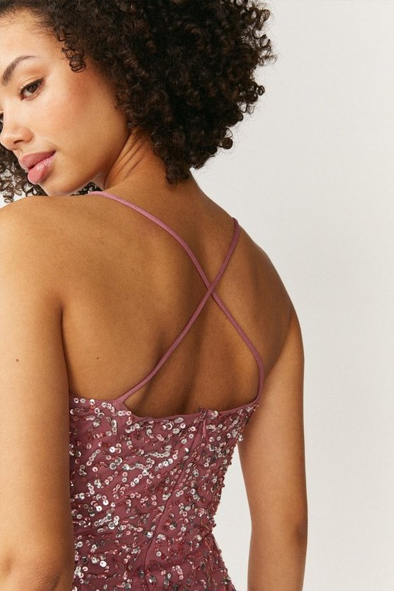 Rose All Over Sequin Cross Over Back Maxi Dress