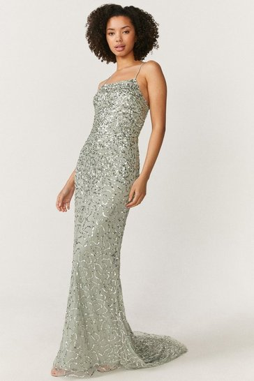 Sage All Over Sequin Cross Over Back Maxi Dress