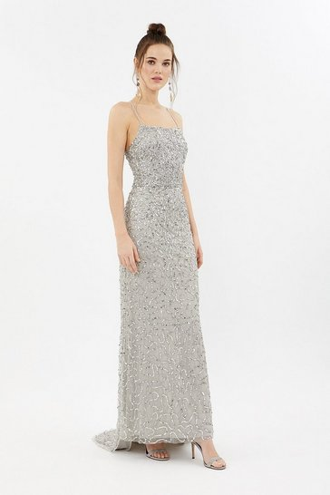 Silver All Over Sequin Cross Over Back Maxi Dress