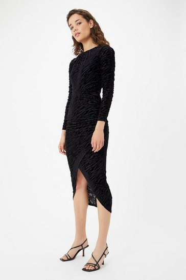 Black Animal Velvet Ruched Dress