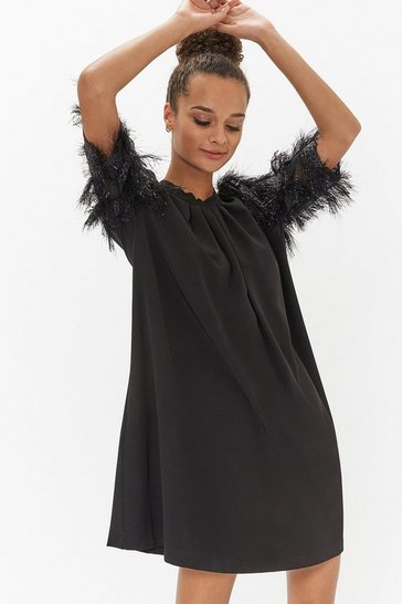 Womens Black Sparkle Sleeve Shift Dress
