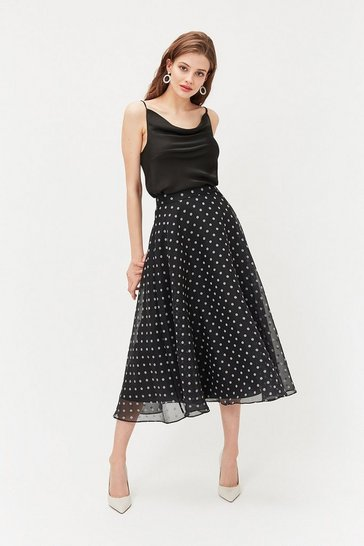 Black Spot Organza Skirt