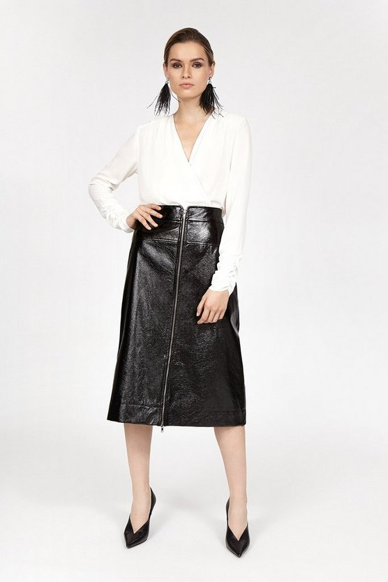 Black Crinkle Zip Front Skirt