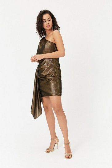 Womens Gold One Shoulder Mini Dress