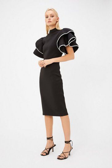 Black Scuba Ruffle Sleeve Midi Dress