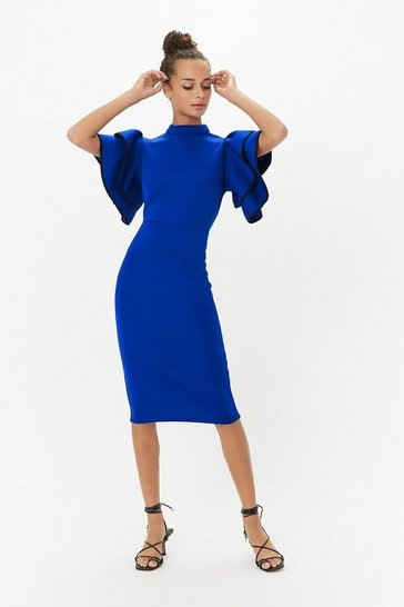 Blue Scuba Ruffle Sleeve Midi Dress