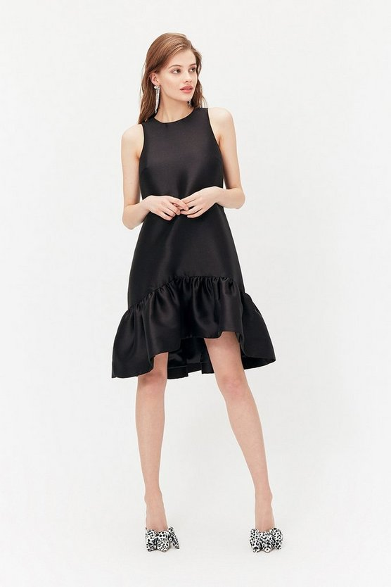Womens Black Peplum Hem Dress