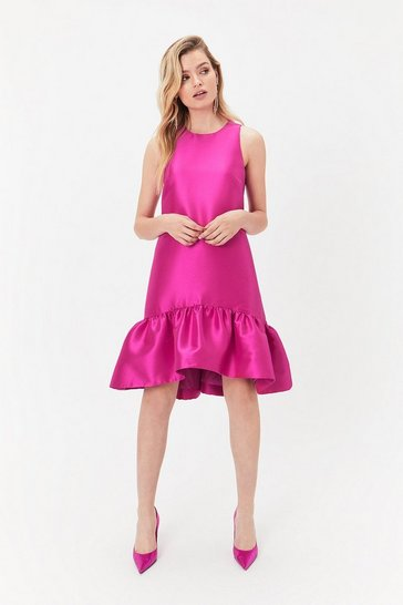 Magenta Peplum Hem Dress