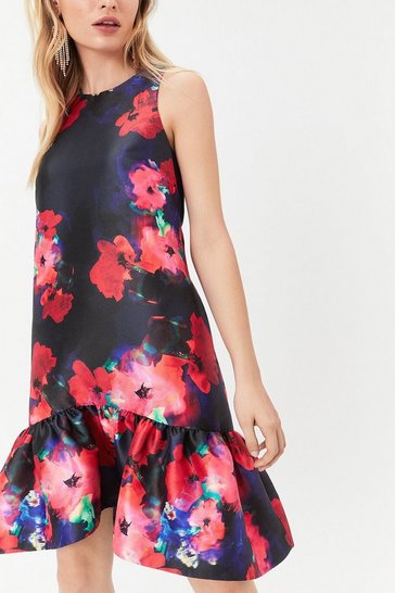 Multi Curve Printed Peplum Hem Dress