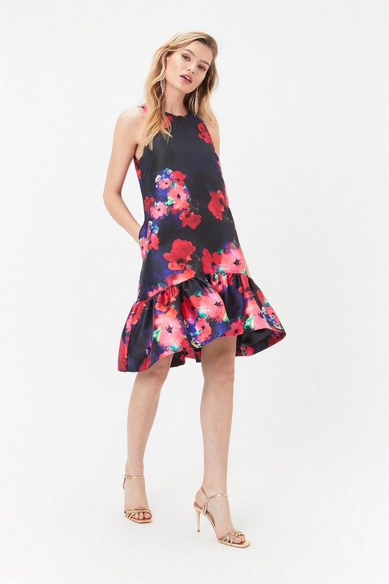 Womens Multi Printed Peplum Hem Dress