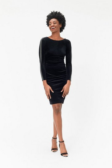 Womens Black Embellished Sleeve Dress