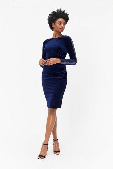 Womens Blue Embellished Sleeve Dress