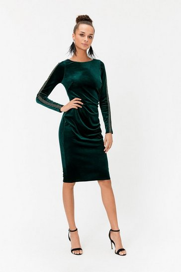 Womens Green Embellished Sleeve Dress