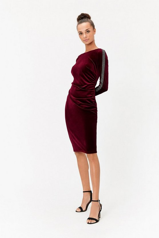 Merlot Embellished Sleeve Dress