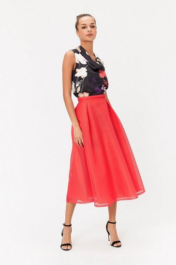 Womens Red Stripe Burnout Full Midi Skirt