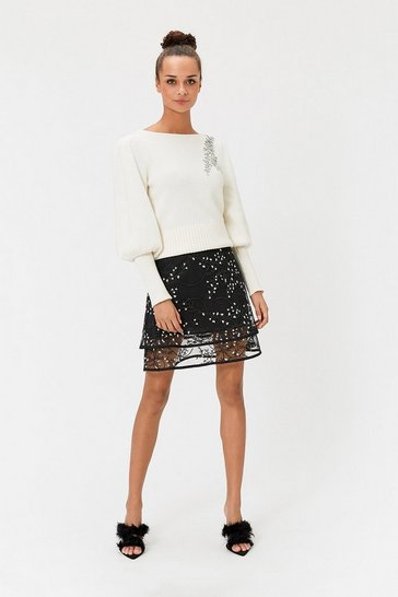 Womens Black Embroidered Mesh Mini Skirt