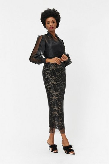 Black Lace Organza Pencil Skirt
