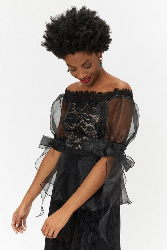 Womens Black Lace Organza Top