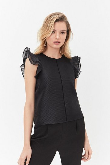 Black Frill Sleeve Top