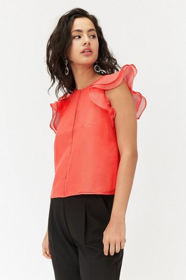 Red Frill Sleeve Top