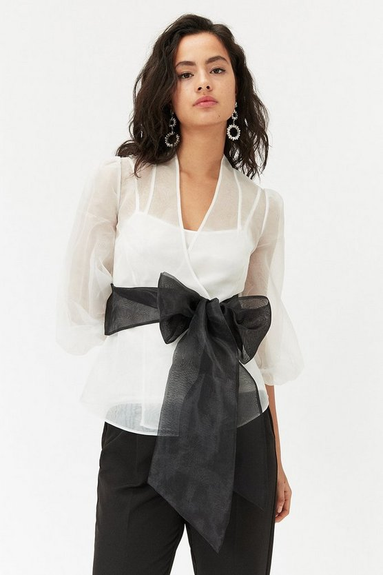 Blackwhite Organza Bow Top