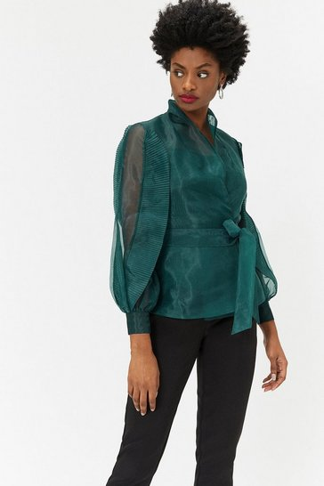 Womens Green Long Sleeve Organza Top