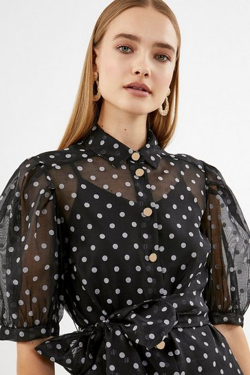 Black Spot Puff Sleeve Organza Top