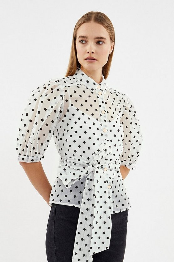 Ivory Spot Puff Sleeve Organza Top