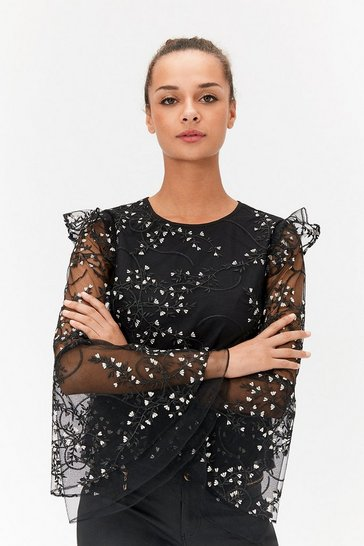 Womens Black Frill Sleeve Embroidered Top