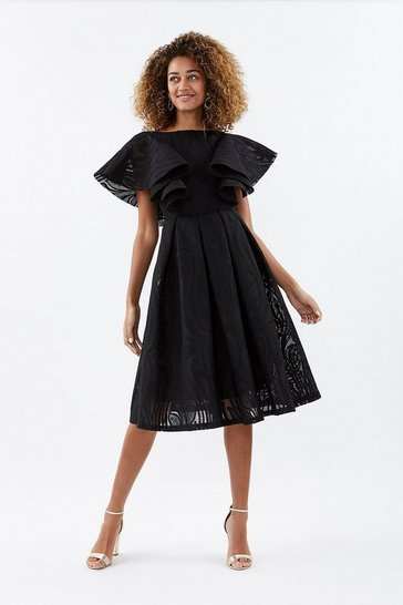 Black Ruffle Shoulder Lace Skater Dress