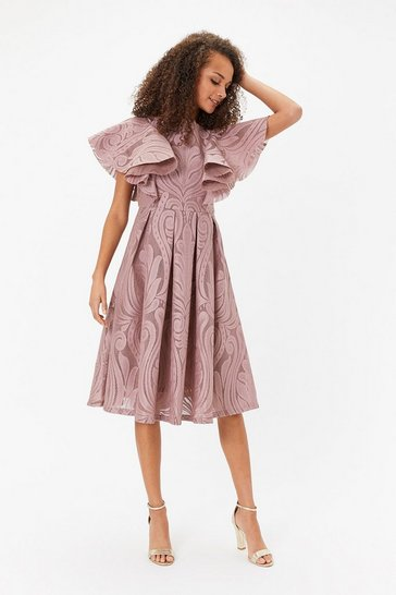 Blush Ruffle Shoulder Lace Skater Dress