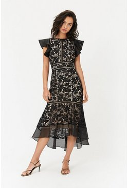Black Floral Lace Frill Sleeve Dress