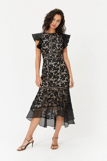 Womens Black Floral Lace Frill Sleeve Dress