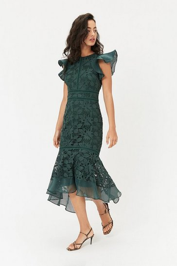 Womens Forest Floral Lace Frill Sleeve Dress